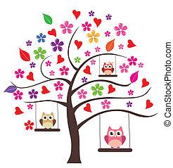Owl Tree - vector tree with flowers and owls swinging