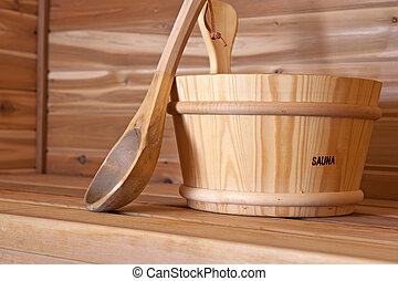 wood bucket - wooden bucket and ladel within a hot sauna