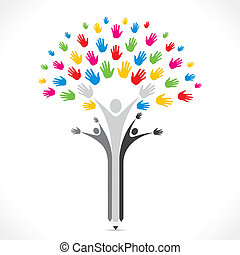 colorful hand pencil tree support