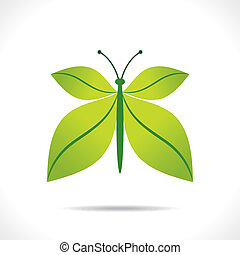 creative green leaf butterfly design concept vector