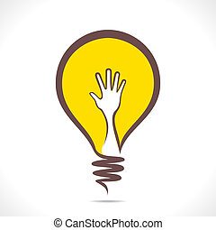 creative design of bulb with hand