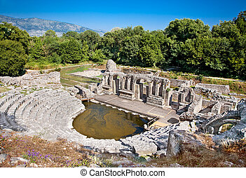 Amphitheater of the ancient Baptistery at Butrint, Albania -...