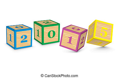 2015 made from toy blocks - vector illustration
