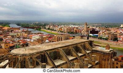 Tortosa with Cathedral from Suda castle - view of Tortosa...