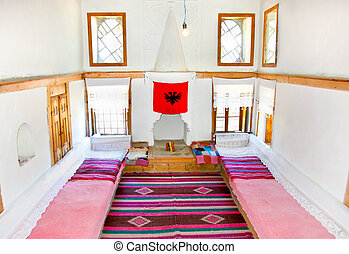 Inside traditional Albanian house in Gjirokaster, Albania -...