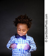 Cute little scientist - Portrait of cute little African...
