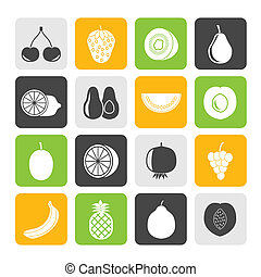 Different kind of fruit and icons - Silhouette Different...