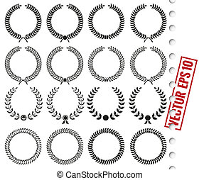 Laurel wreath - Vector Set of black silhouette circular...