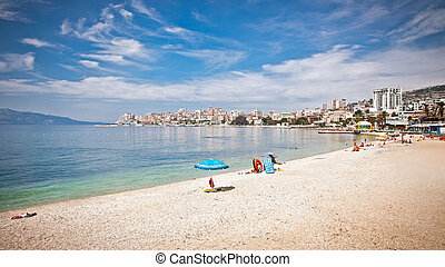 Pablic beach in Saranda, Albania. Saranda is one of the most...