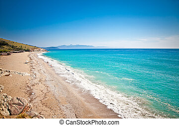 Beautiful sandy beach Lukova in Albania. - Beautiful sandy...