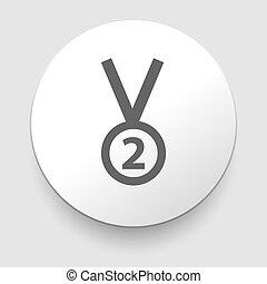 Second place trophy medal - vector illustration. Flat design...