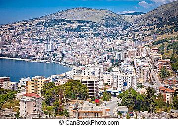 Panoramic view on Saranda city, Albania. - Panoramic view on...