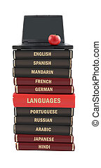 Language text books and laptop - Languages textbooks like...