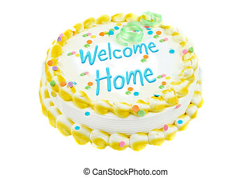 Welcome home festive cake - Welcome home yellow and white...
