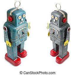 robots - two retro robot toys