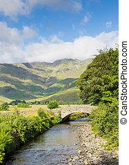 Mickleden Beck river Langdale Valley Lake District by Old...