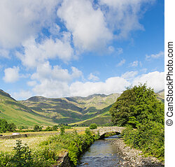 Mickleden Beck river Langdale Valley Lake District by Old...