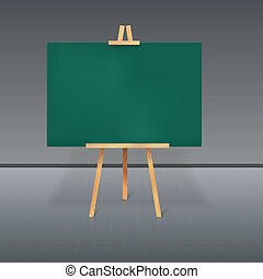 Wooden tripod with a green chalkboard