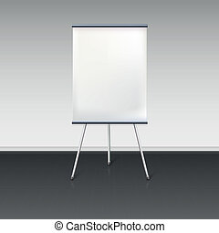 Blank flipchart stands near the wall, vector illustration