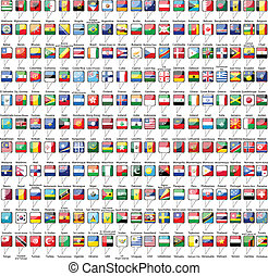 Flags of the world on white background