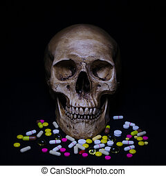 Dramatic skull and the pile of pills