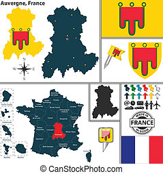 Map of Auvergne, France - Vector map of state Auvergne with...