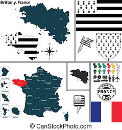 Map of Brittany, France - Vector map of state Brittany with...