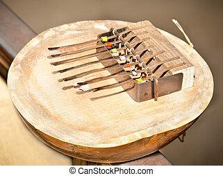 instrumento,  kalimba, nota,  7, africano,  kenya