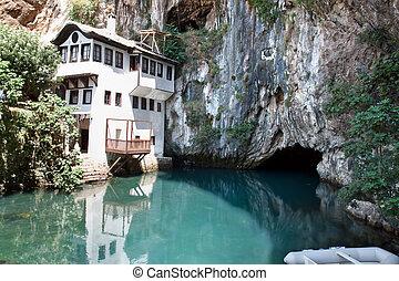 Dervish house in Blagaj Buna, Bosnia and Herzegovina -...
