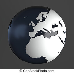 Globe On Gray - 3D-Rendering of globe on gray background....