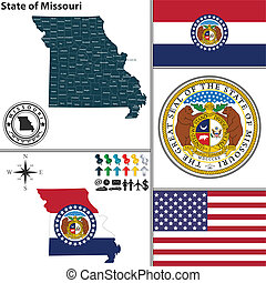 Map of state Missouri, USA - Vector set of Missouri state...