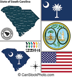 Map of state South Carolina, USA - Vector set of South...