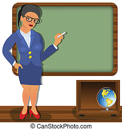 school teacher - Vector illustration of a school teacher in...