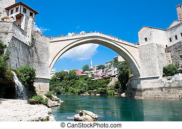 Old bridge - Mosta - Old bridge on river Neretva - Mostar,...