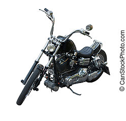 black chopper on white background