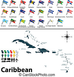 Political map of Caribbean - Vector political maps with...
