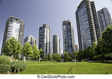 Inner city playground - Play ground between large highrise...