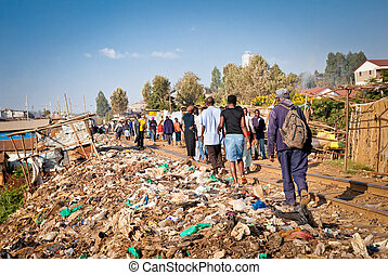 Daily life of local people Kibera slums in Nairobi, Kenya -...