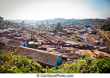 Panoriamic view of Kibera slums in Nairobi, Kenya.