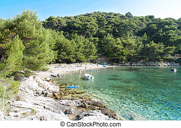 Beautiful adriatic island beach , Saplunara, Mljet Island -...
