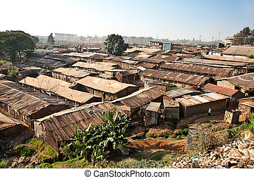Panoriamic view of Kibera slums in Nairobi, Kenya The...