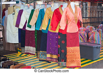 Lao woman costume for sale in market, Luang prabang, Lao