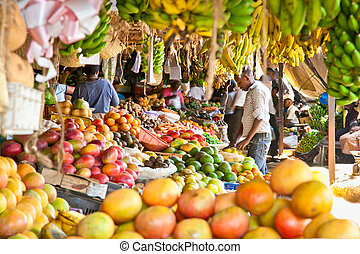 dojrzały, owoce, Sztaplowany, miejscowy, targ, Nairobi