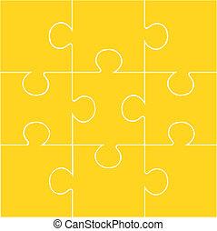 9-piece blank jigsaw puzzle - Nine pieces of orange jigsaw...
