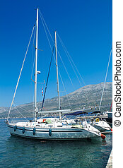 Sea yacht in a harbor, Korcula , Croatia