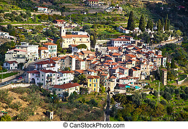 Small village in Regionale delle Alpi Liguri, Italy - View...