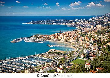 Panoramic view on Sanremo, Italy. - Panoramic view on...