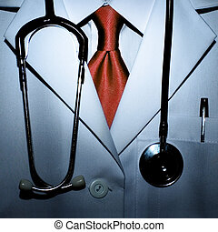 Dr Scarry - Conceptual photo of a scarry doctor with blood...