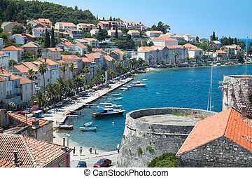 Village on island Korcula. Croatia, Dalmatia region, Europe....