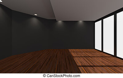 Home Black interior rendering - Home interior rendering with...